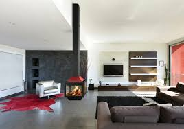 Living Room Fireplace Ideas - trendy open plan living room with sleek black and red central