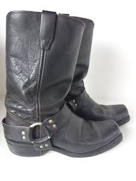 biker riding boots vintage durango black leather harness riding motorcycle biker boots