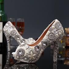 wedding shoes cork unique pearl rhinestone wedding dress shoes high heeled bridal dress