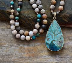 turquoise stone pendant necklace images Turquoise stone pendant necklace colorful handmade moonshine jpg