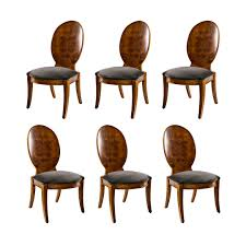 set of six louis xvi style burl wood dining chairs on the highboy
