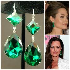 green earrings emerald earrings kyle richards large emerald