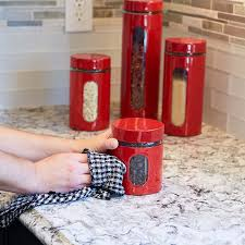 Red Canisters For Kitchen Amazon Com Anchor Hocking Palladian Glass And Stainless Steel