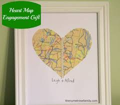 wedding gift map engagement gift heart map engagement and gift