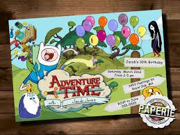 adventure time birthday invitaiton jake and