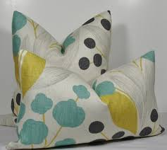 Linen Covers Gray Print Pillows White Walls Grey Traditional Interior Design With Gray Yellow Teal Throw Pillow