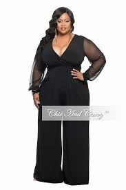 plus size black jumpsuits plus size jumpsuit with sheer sleeves and wide leg in