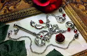 rose key necklace images Phantom of the opera red rose silver mask key necklace titanic jpg
