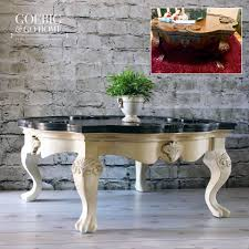 van glazed antique white coffee table general finishes