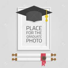graduation cap frame vector photo frame template with graduation cap and diploma rolled