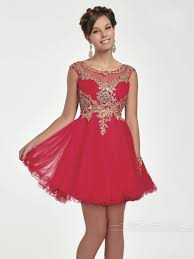 red with gold lace homecoming dresses short prom dress high