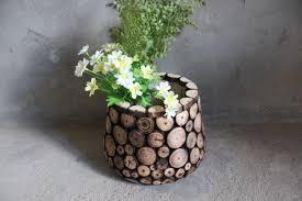 rustic fir wood chip vase