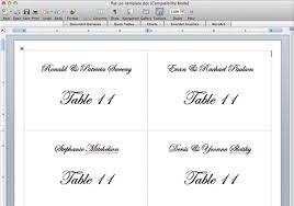 Table Card Template by Place Card Template 6 Per Sheet The Letter Sample