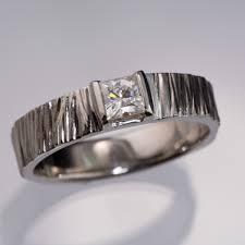 modern wedding rings princess moissanite saw cut textured modern wedding or engagement ring