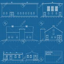 Farm Blueprints Country Farm Blueprint Plans Illustration Royalty Free Cliparts