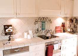 French Country Kitchen Backsplash Ideas French Provincial White Kitchen With Tiled Bench And Matching Wall
