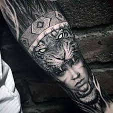 badass forearm sleeve guys tiger with indian portrait