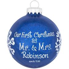 personalized ornaments wedding personalized christmas as mr and mrs blue glitter ornament