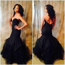 charming prom dress black mermaid prom dress backless prom