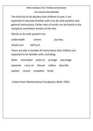math vocabulary year 1 position and instructions kindergarten