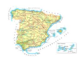Map Of Malaga Spain by Large Detailed Physical Map Of Spain With Roads Cities And