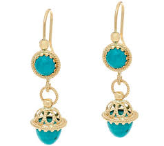 turquoise drop earrings italian gold turquoise drop earrings 14k gold page 1 qvc