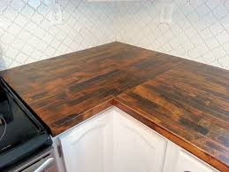 furniture stained ikea butcher block countertop and moroccan tile