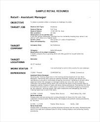 What To Put In Objective Of Resume Retail Objective For Resume 28 Images Sle Retail Resume 9