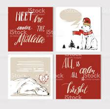 hand made vector abstract merry christmas greeting cards set with