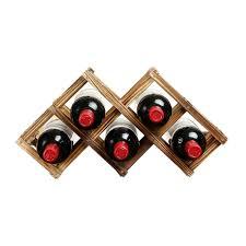foldable wooden tabletop wine rack holder bottle server for 6 with
