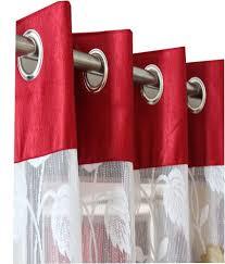 Maroon Curtains Homefab India Set Of 2 Door Eyelet Curtains Floral Maroon Buy