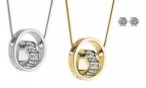swarovski necklace white gold images Bracelet studs with swarovski groupon goods jpg