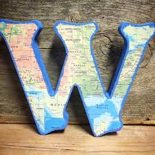 standing wood map letters home decor