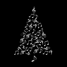 Music Note Christmas Tree Ornament by Christmas Tree Made Of Shiny Silver Musical Notes On Black Stock