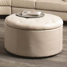 Gray Leather Ottoman Furniture Round Leather Ottoman With Shelf Cocktail Coffee Table