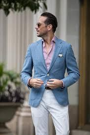 Light Blue Jacket Mens Light Blue Linen Blazer Red Houndstooth Dress Shirt White Cotton
