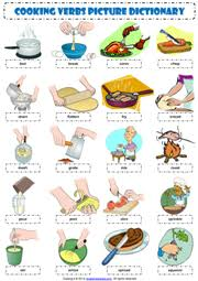 cooking verbs esl picture dictionary worksheet classroom