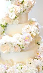 wedding wishes of gloucestershire 6 tier ivory and orchids cascade wedding cake chérie