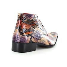 7275 mens leather faux python skin lace up boots purple and brown