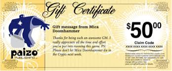 gift certificates paizo egift cards