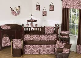 Pink And Brown Damask Crib Bedding Pink And Chocolate Baby Bedding 9 Pc Crib Set Only