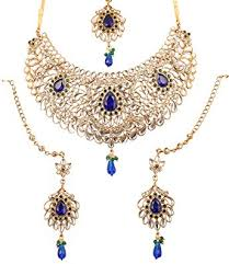 indian bridal jewelry necklace images Touchstone indian bollywood kundan look blue green jpg