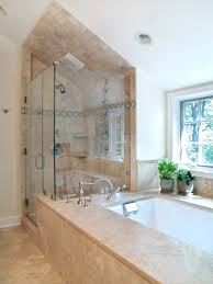 loft bathroom interior with cream marble jacuzzy tub and glass