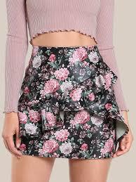 overlap flounce trim faux leather skirt shein sheinside