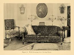 1920 print living room furniture couch sofa pillow lamp original