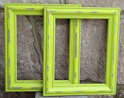 set of 2 shabby chic 8x10 lime green distressed picture frames key