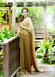 Thai Wedding Dress Golden Traditional Thai Dress ขว ญ อ ษามณ Traditional Thai