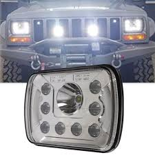jeep wrangler square headlights shop 1 pair 5 7 inch high low beam drl 6 x7 led square