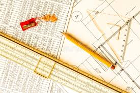architectural drawings tools for sketching on the table stock
