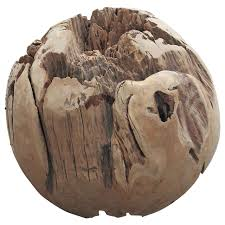 large teak balls for home decor or garden accessories for sale at